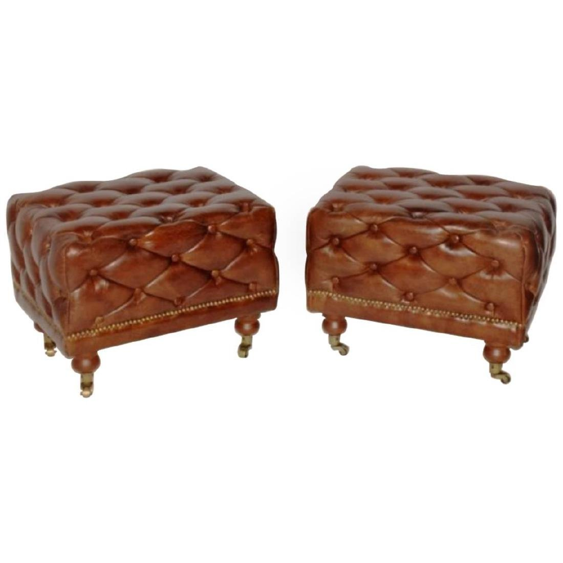 Pair CHESTERFIELD STYLE FOOT STOOLS