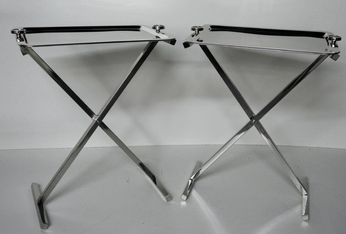 Pair STAINLESS STEEL SERVING STRAYS ON STANDS
