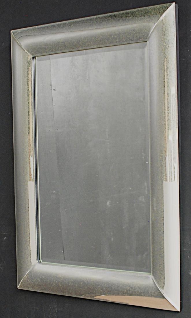 MODERN DESIGN MIRROR W/ ANTIQUED GLASS FRAME