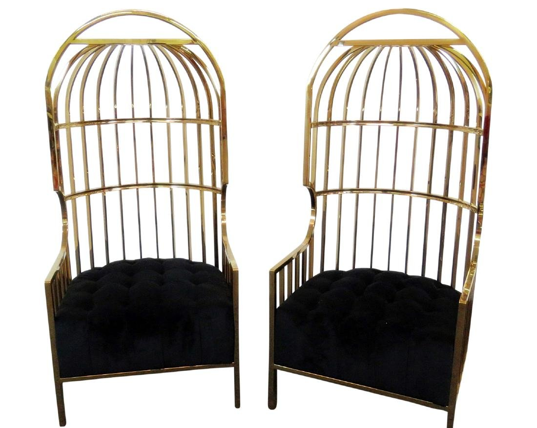 Pair BRASS PORTERS CHAIRS