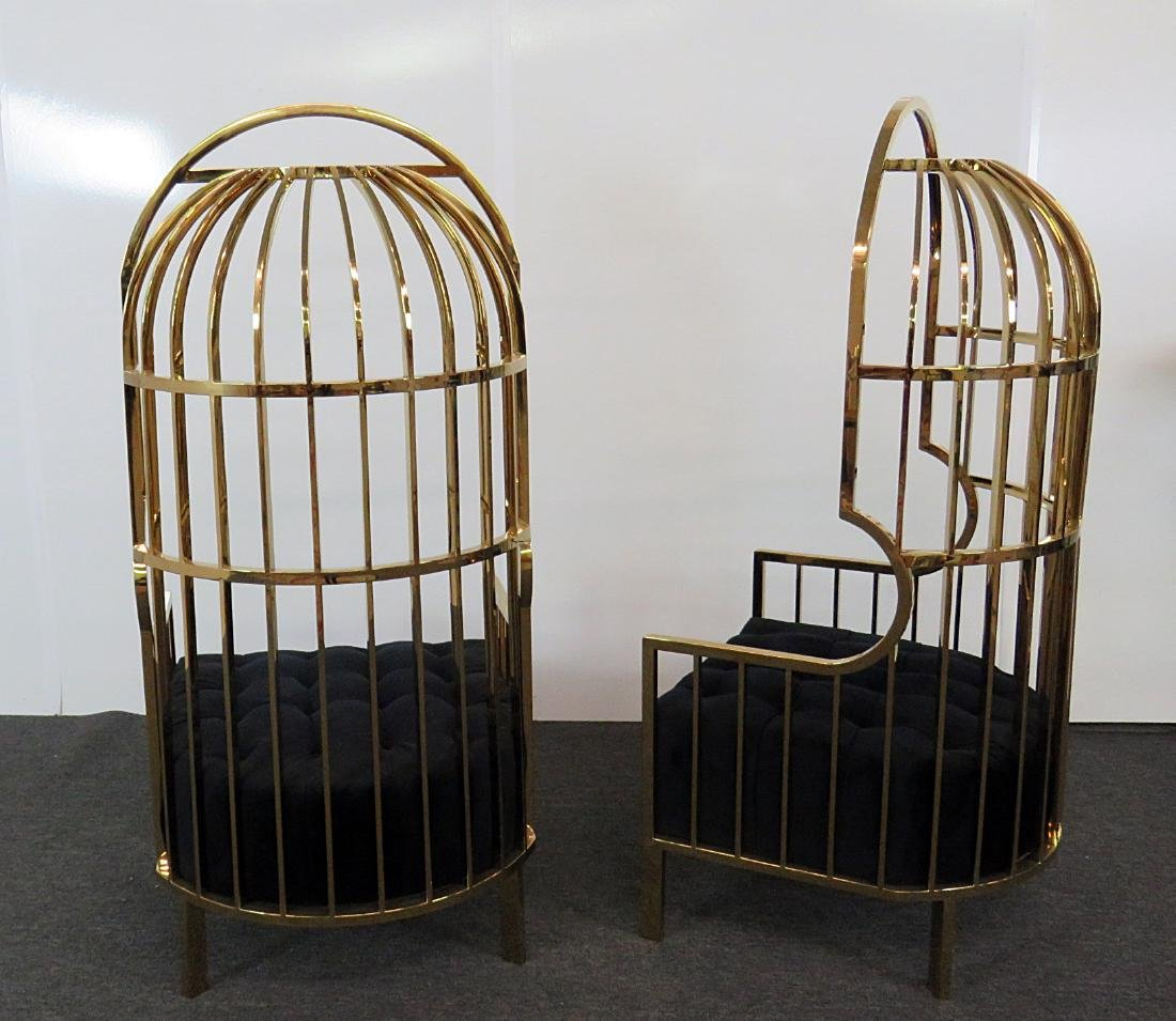 Pair BRASS PORTERS CHAIRS - 3