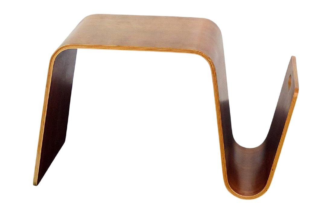 KNOLL STYLE BENTWOOD TABLE MAGAZINE RACK
