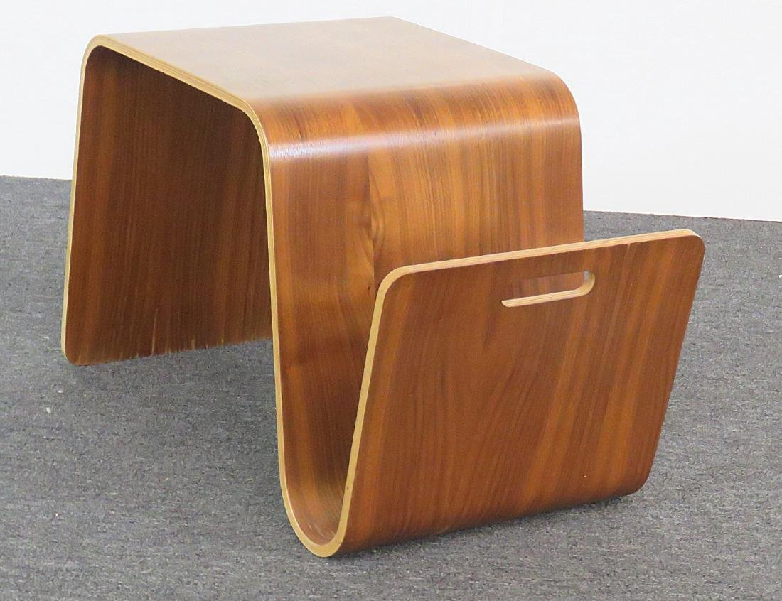 KNOLL STYLE BENTWOOD TABLE MAGAZINE RACK - 4