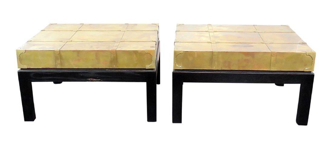 Pair ASIAN MODERN DESIGN BRASS END TABLES
