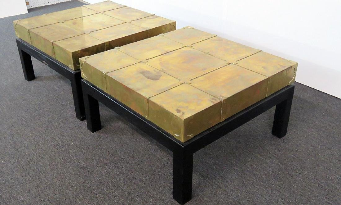 Pair ASIAN MODERN DESIGN BRASS END TABLES - 2