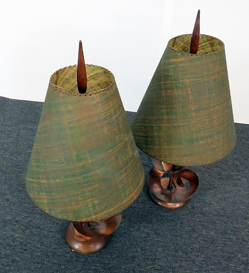 HARRY BALMER COPPER BRUTALIST TABLE LAMPS - 3