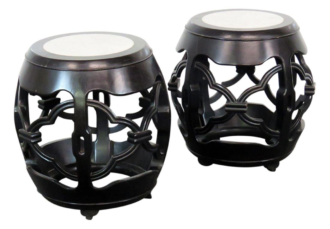 2 ASIAN MODERN MARBLETOP SIDETABLES
