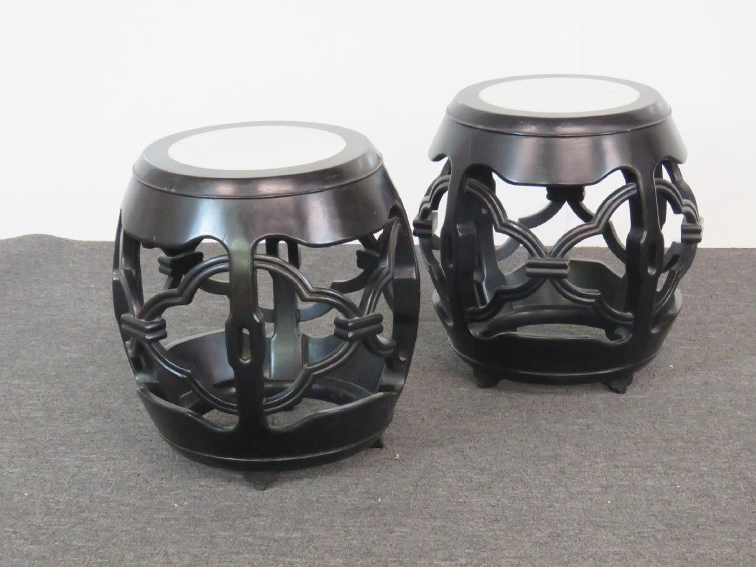 2 ASIAN MODERN MARBLETOP SIDETABLES - 2