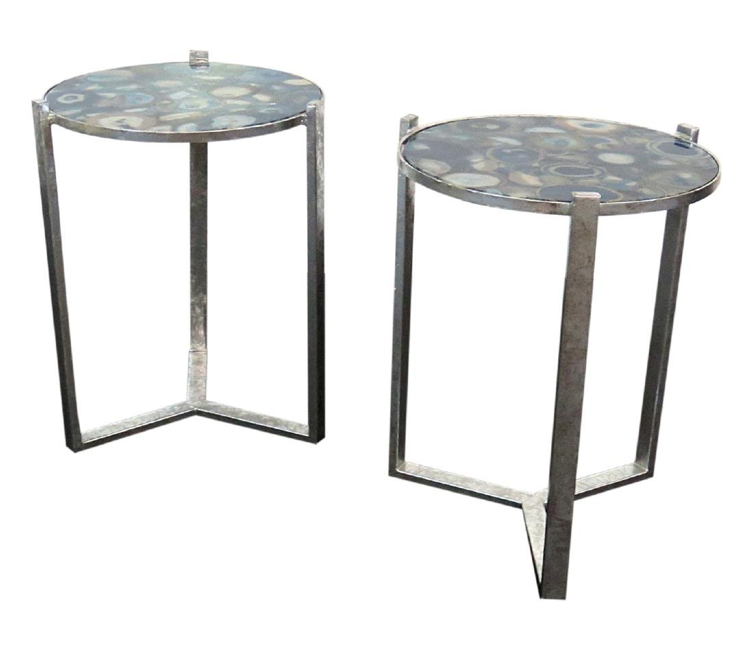 Pair AGATE TABLES