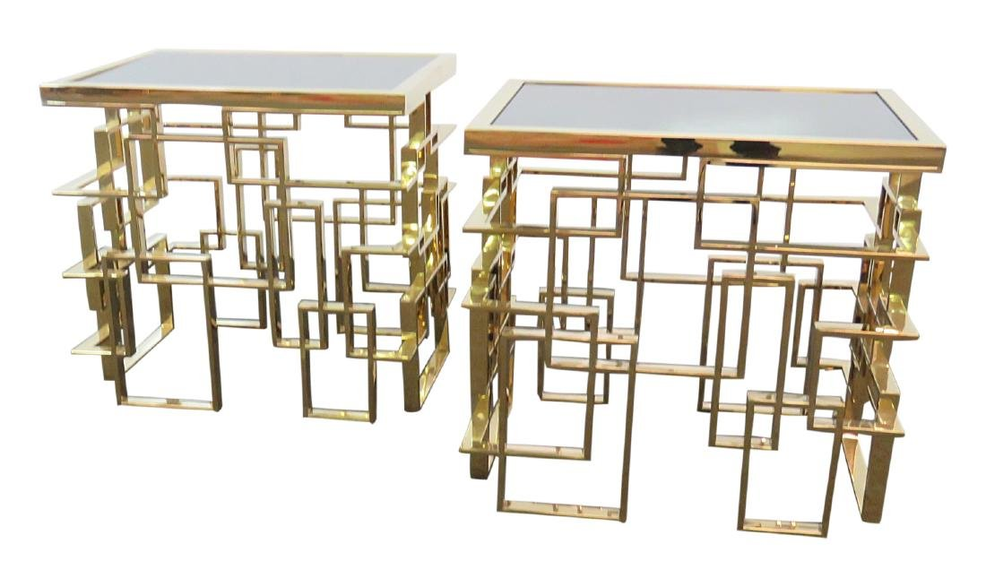 Pair ABSTRACT BRASS END TABLES
