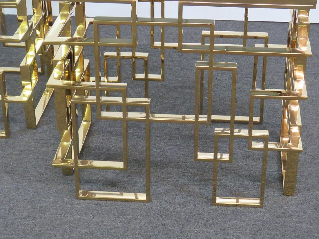 Pair ABSTRACT BRASS END TABLES - 2