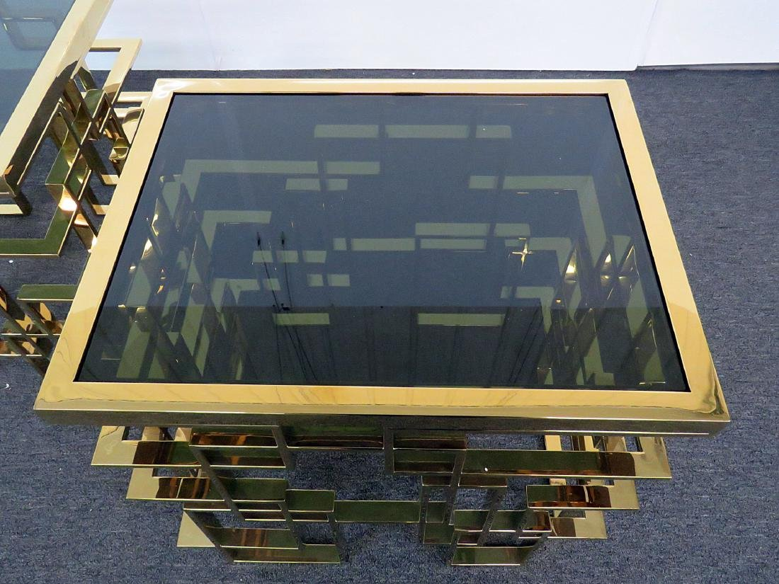 Pair ABSTRACT BRASS END TABLES - 3