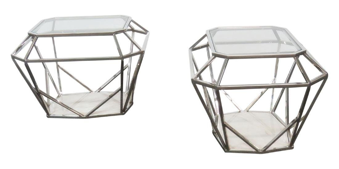 Pair MODERN DESIGN DIAMOND SHAPED END TABLES