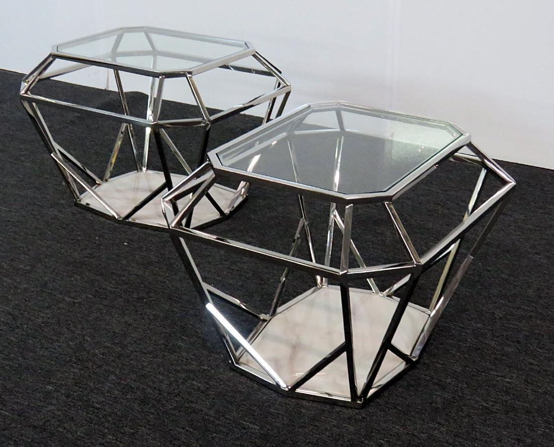 Pair MODERN DESIGN DIAMOND SHAPED END TABLES - 2