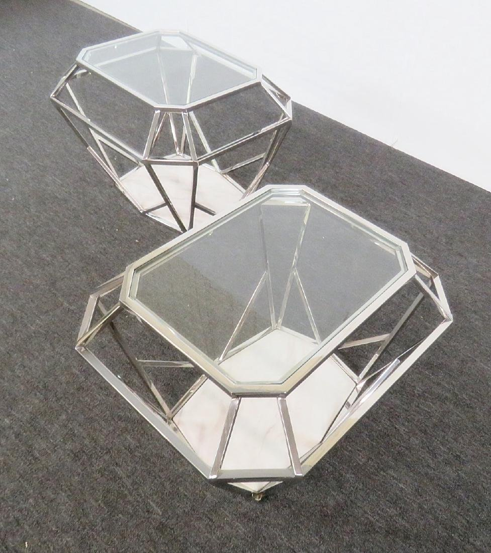 Pair MODERN DESIGN DIAMOND SHAPED END TABLES - 5