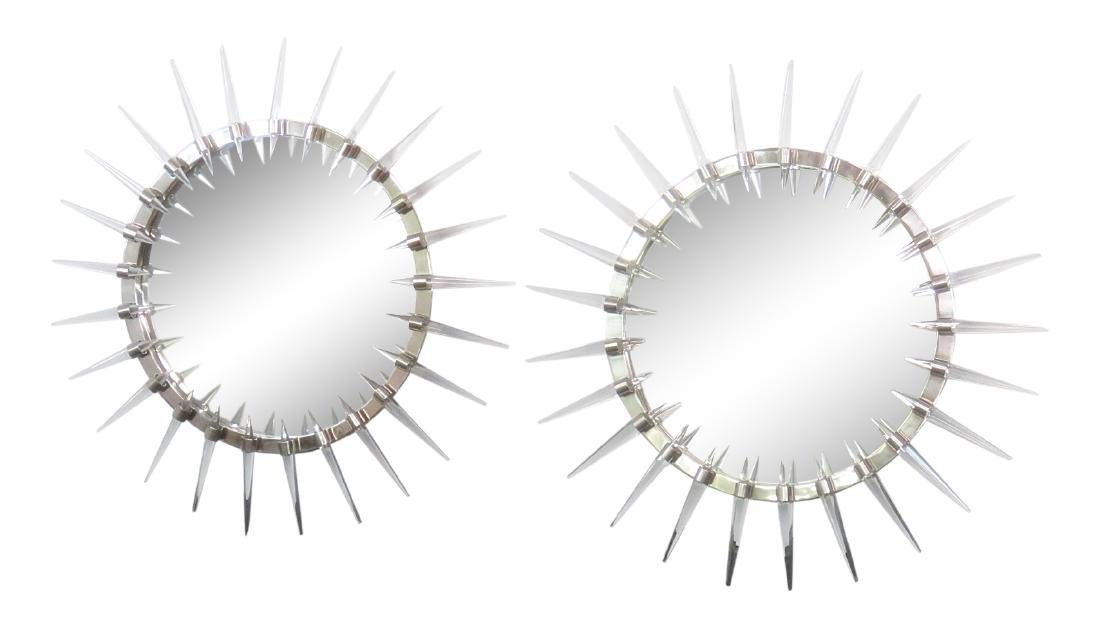 Pair CHROME BULLSEYE MIRRORS WITH LUCITE SPIKES