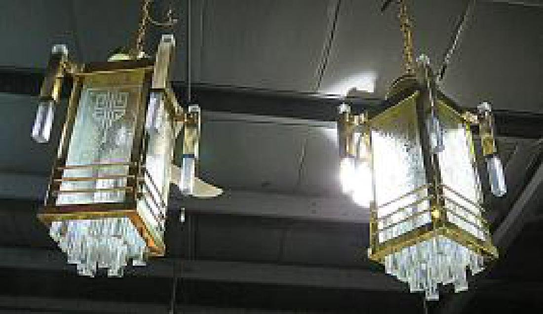 Pair FRENCH DECO CHANDELIERS - 3
