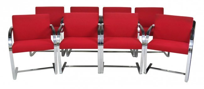 8 BRUNO STYLE CHROME LOUNGE CHAIRS