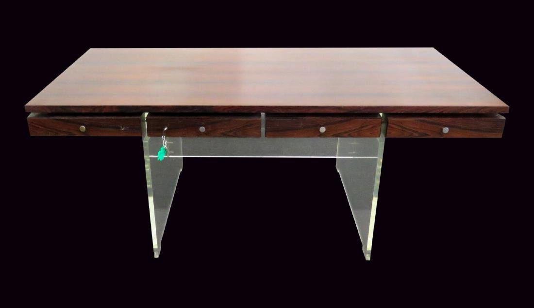 ROSEWOOD LUCITE DESK BY POUL NORREKLIT