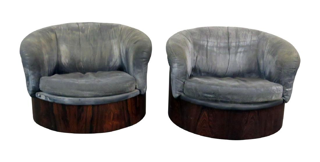 Pair  BAUGHMAN STYLE SWIVEL ROSEWOOD CHAIRS