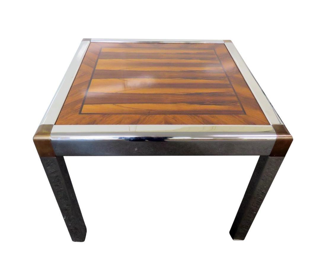 MILO BAUGHMAN STYLE CHROME & ROSEWOOD TABLE