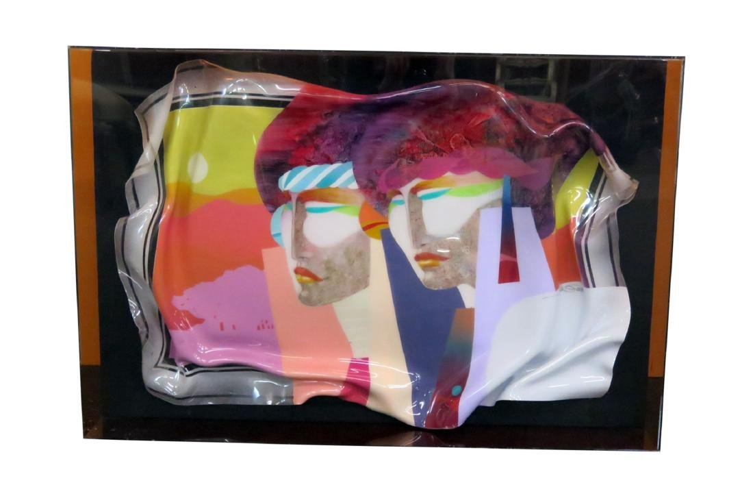 SIGNED ABSTRACT ART OF TWO FACES