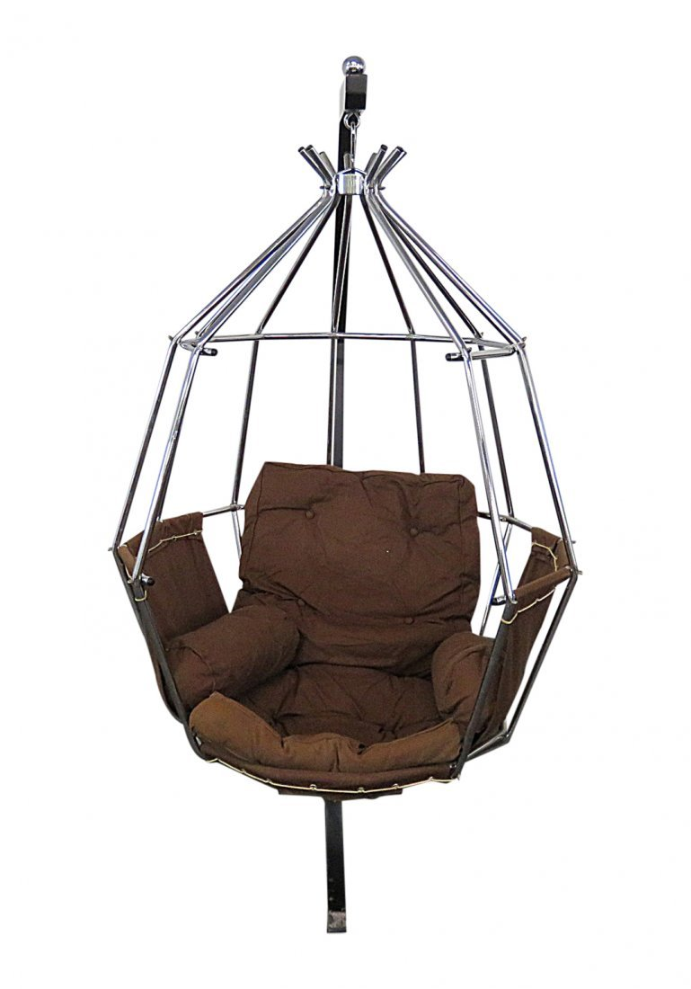 MCM CHROME HANGING BIRDCAGE CHAIR