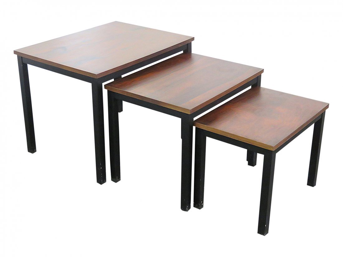 BAUGHMAN STYLE ROSEWOOD & EBONIZED NESTING TABLES