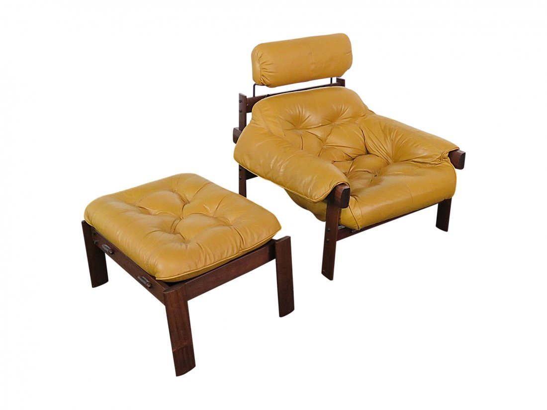 LAFER LEATHER TUFTED ARM CHAIR & OTTOMAN