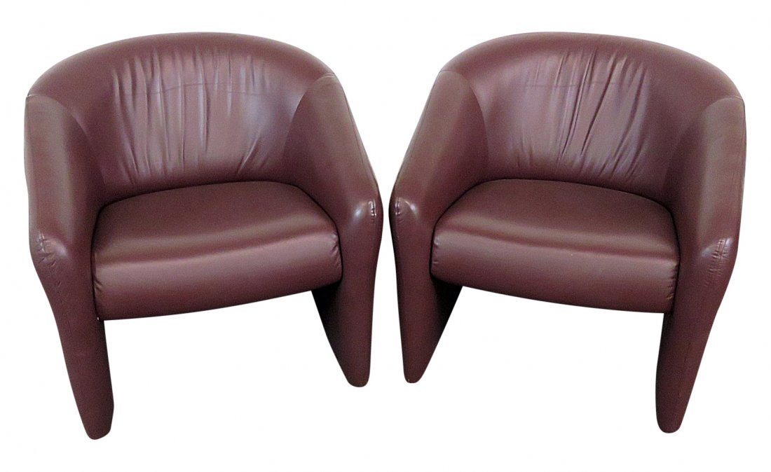 Pair STEEL CASE INC.  LEATHER CLUB CHAIRS