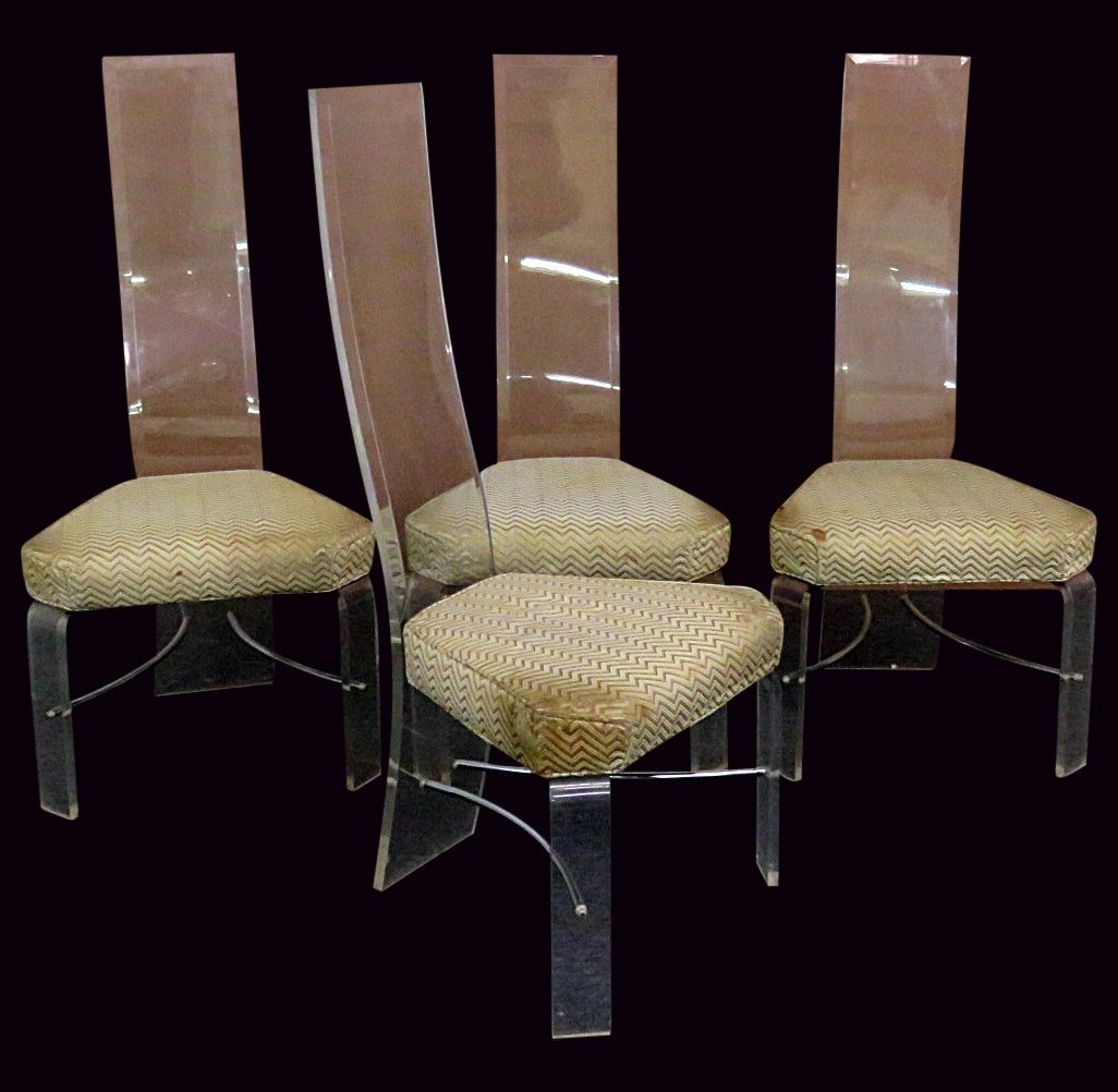4 LUCITE SIDE CHAIRS