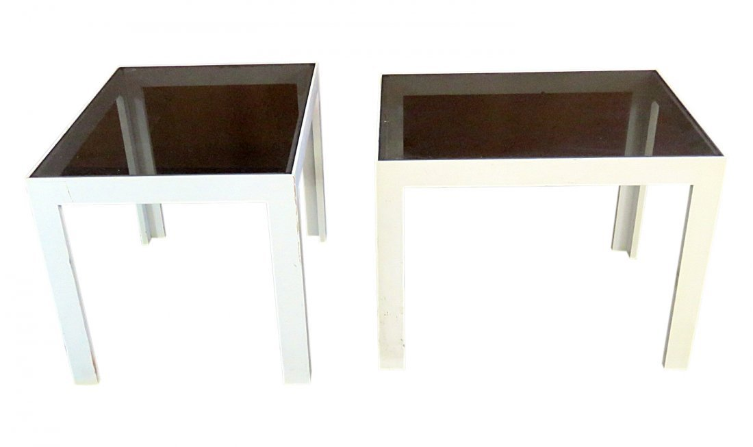 Pair SMOKED GLASS END TABLES