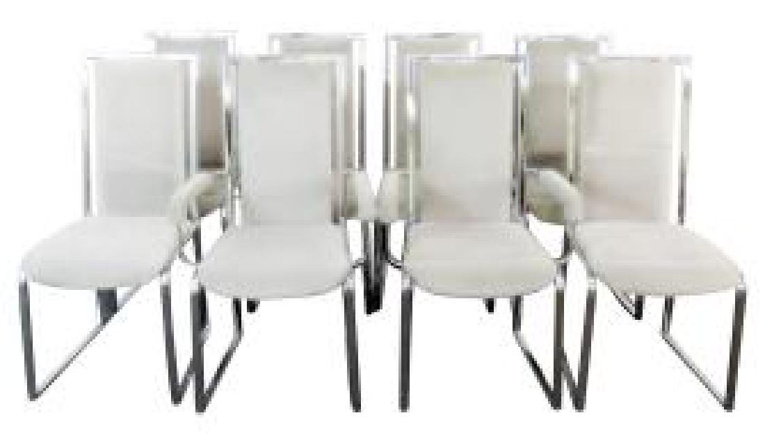 8 CHROME & UPHOLSTERED CHAIRS