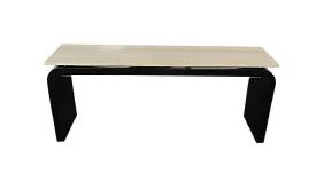 SPRINGER STYLE TRAVERTINE TOP CONSOLE TABLE