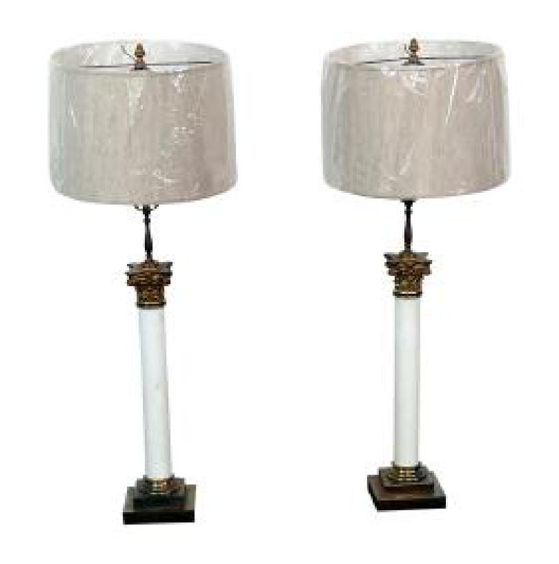 Pair NEOCLASSICAL OPALINE TABLE LAMPS