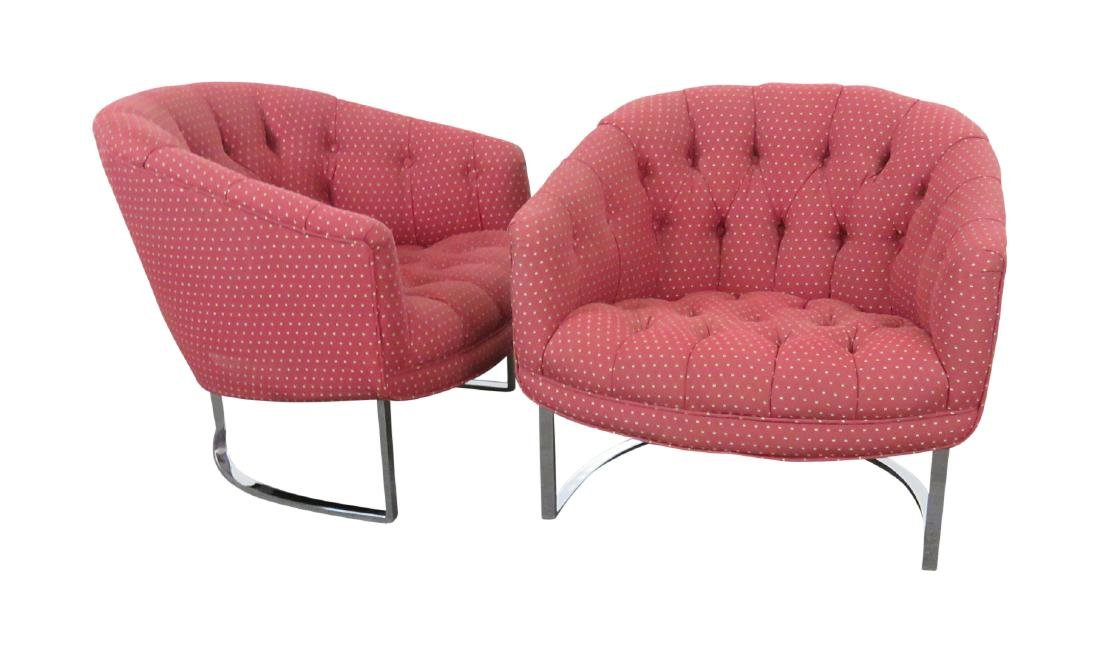 Pair ADRIAN PEARSALL STYLE TUFTED CLUB CHAIRS