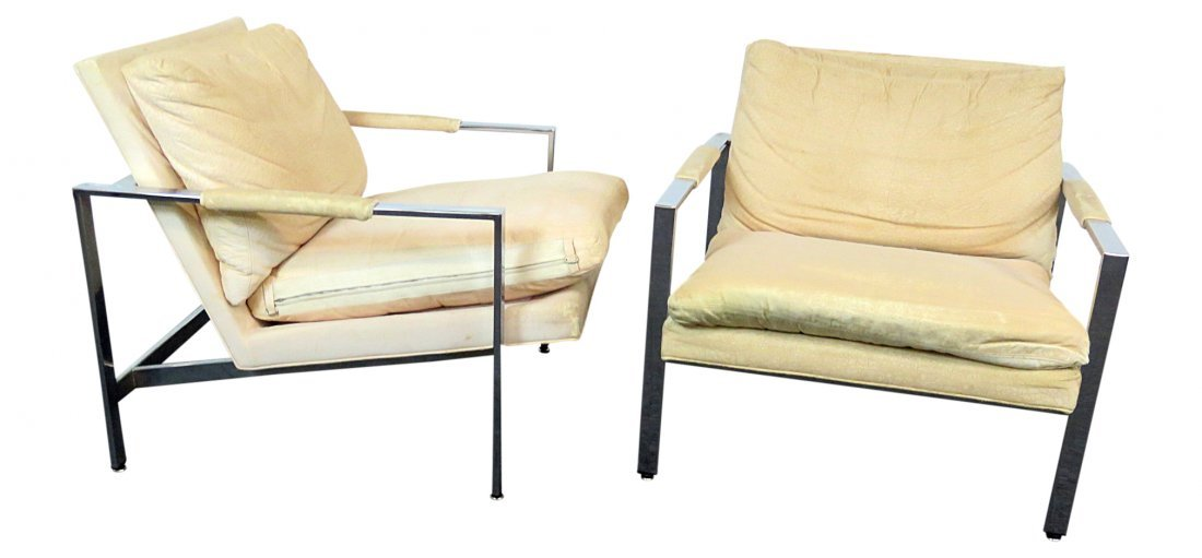 Pair BAUGHMAN for THAYER COGGIN CHROME LOUNGE CHAIRS