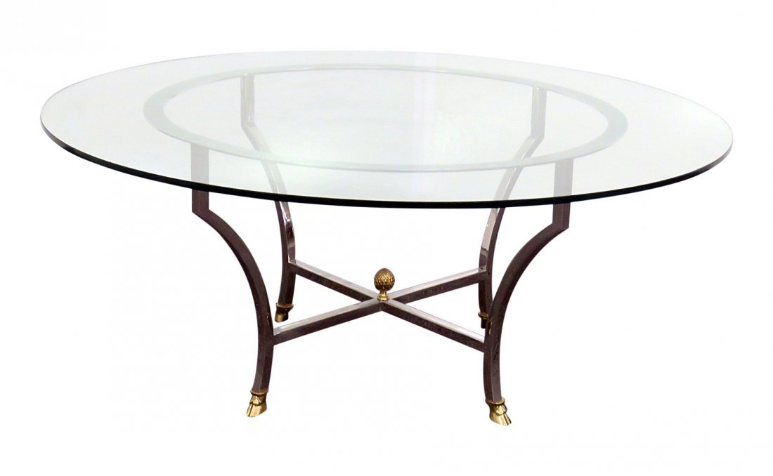 JANSEN STYLE GLASS TOP COFFEE TABLE
