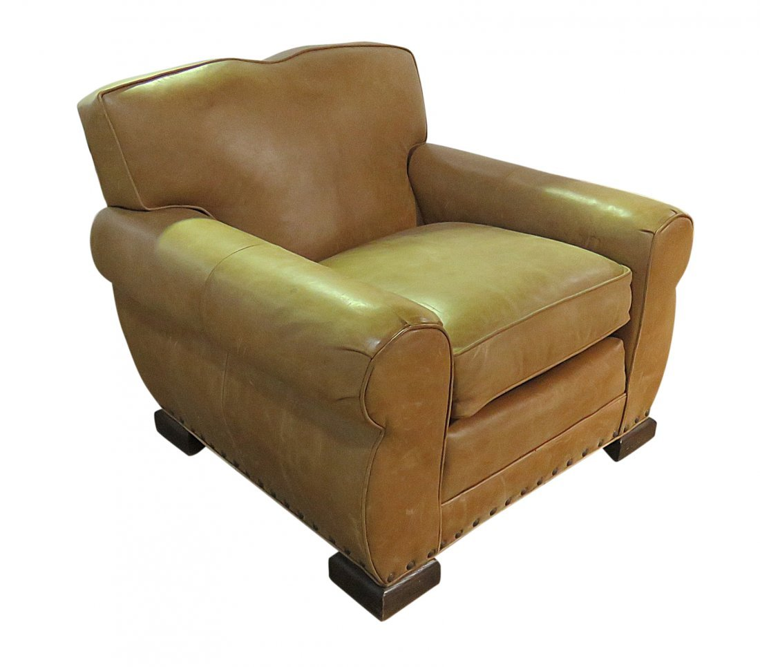 FRENCH DECO STYLE LEATHER CLUB CHAIR