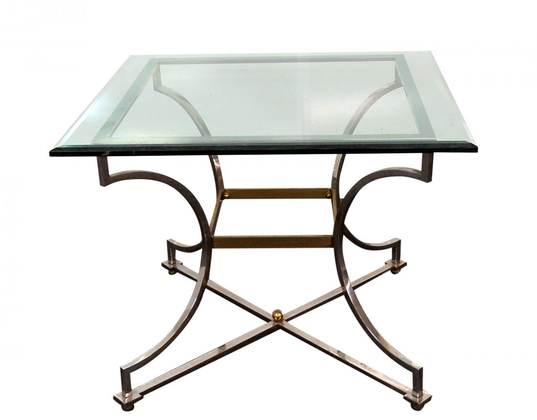 JANSEN STYLE GLASS TOP CENTER TABLE