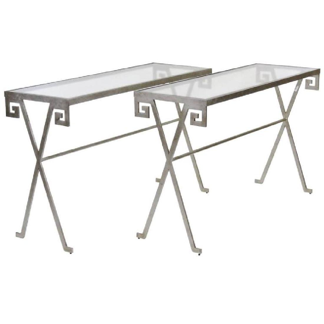 PAIR JEAN MICHELE FRANK STYLE CONSOLE TABLES
