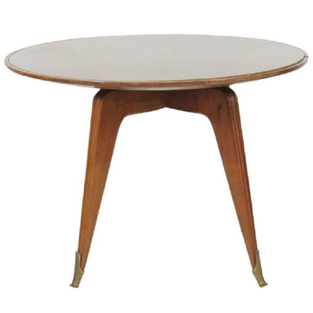 BUFFA STYLE ROSEWOOD GLASS TOP DINING TABLE