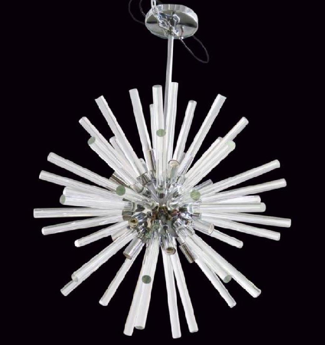SPUTNIK CHROME AND GLASS CHANDELIER