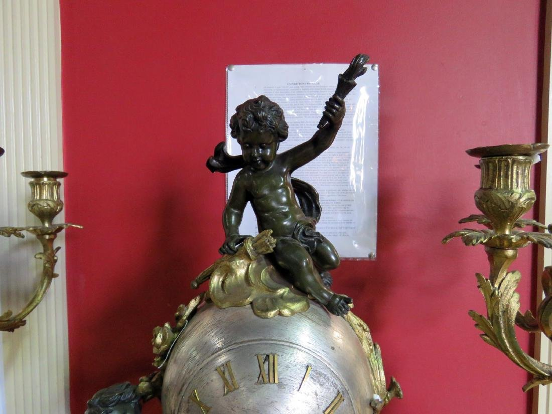3 pc CHERUB BRONZE CLOCK SET w MARBLE PLINTHS - 10