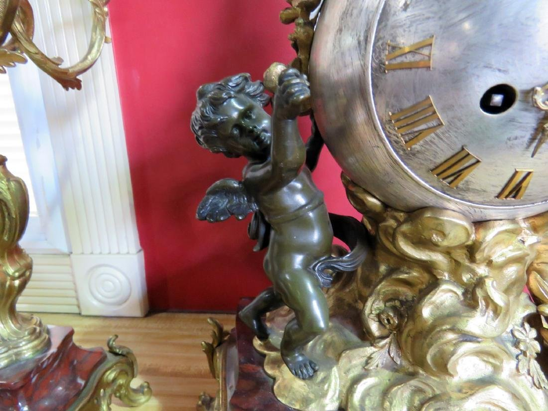 3 pc CHERUB BRONZE CLOCK SET w MARBLE PLINTHS - 12