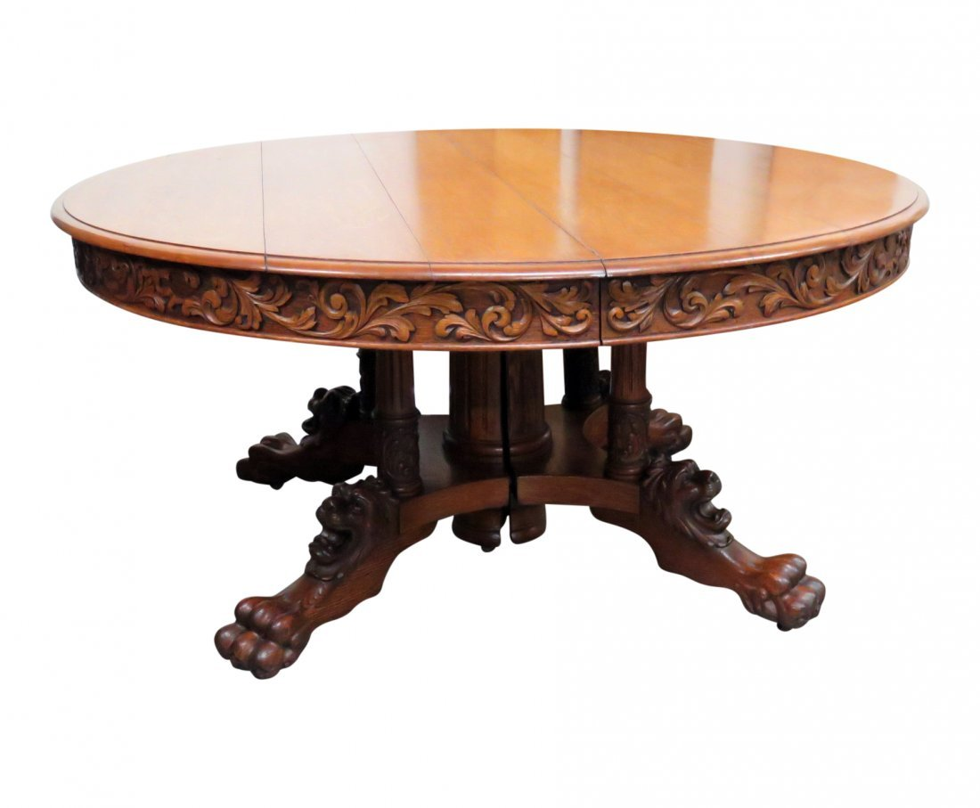VICTORIAN OAK LIONS HEAD DINING TABLE