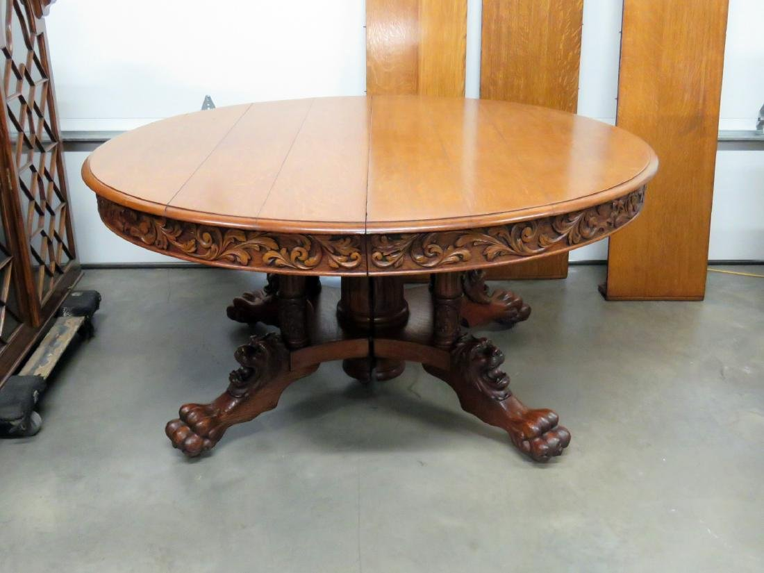 VICTORIAN OAK LIONS HEAD DINING TABLE - 2