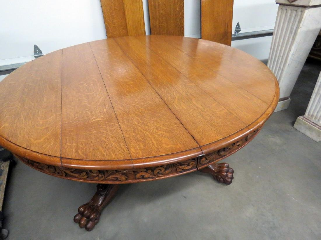 VICTORIAN OAK LIONS HEAD DINING TABLE - 4
