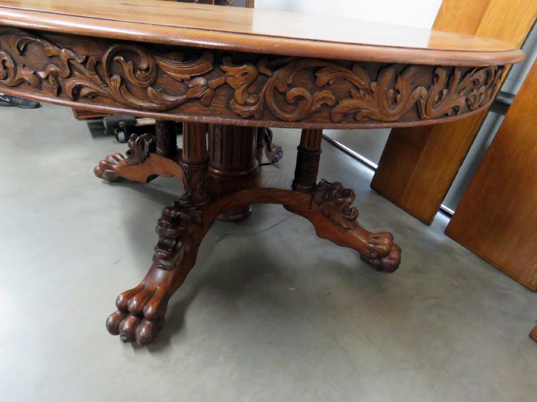 VICTORIAN OAK LIONS HEAD DINING TABLE - 6