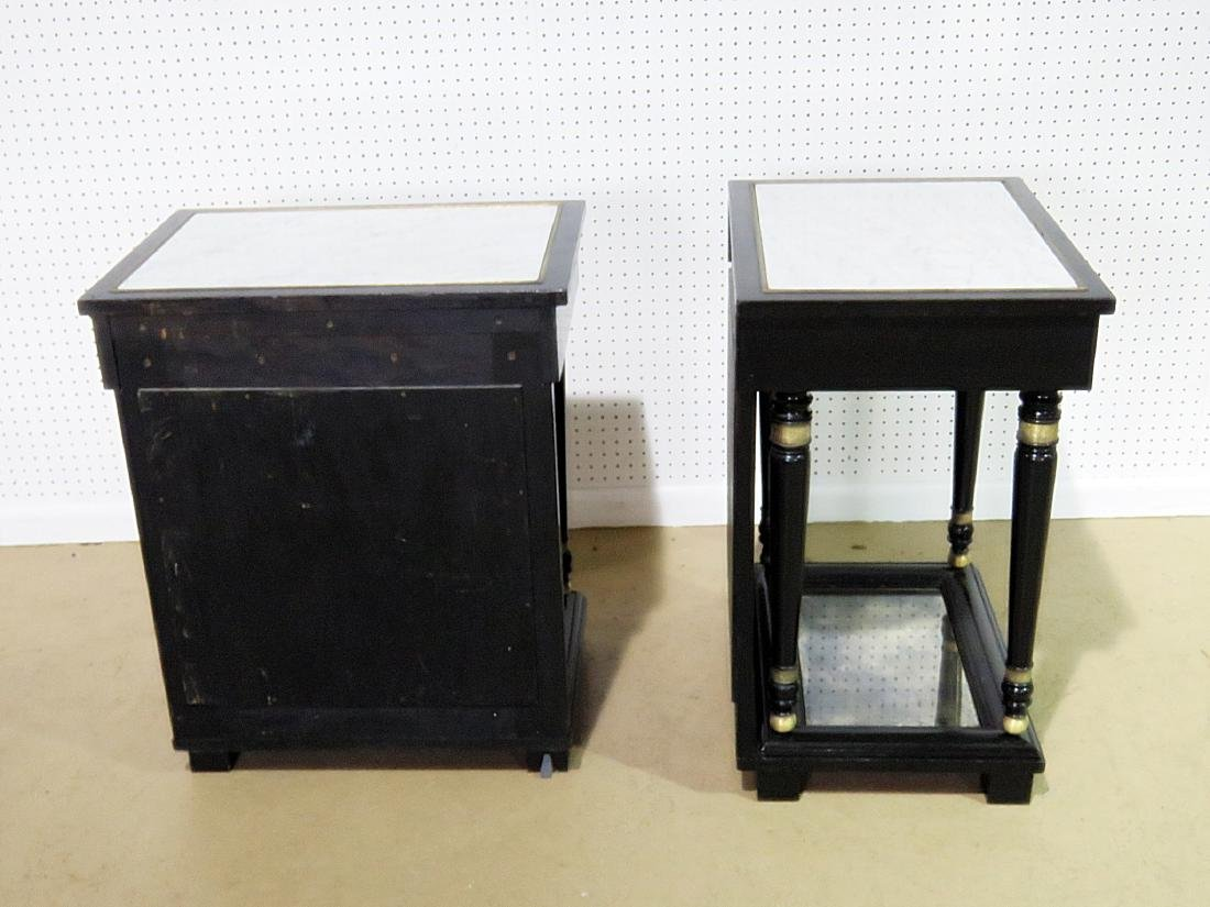 Pair JANSEN STYLE MARBLE TOP END TABLES - 11